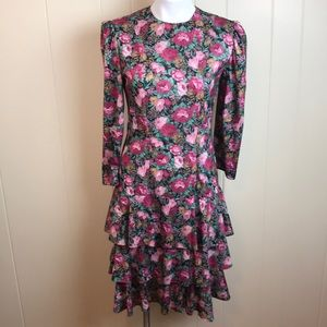 Vintage 80s/90s Floral Rose Print Party Dress
